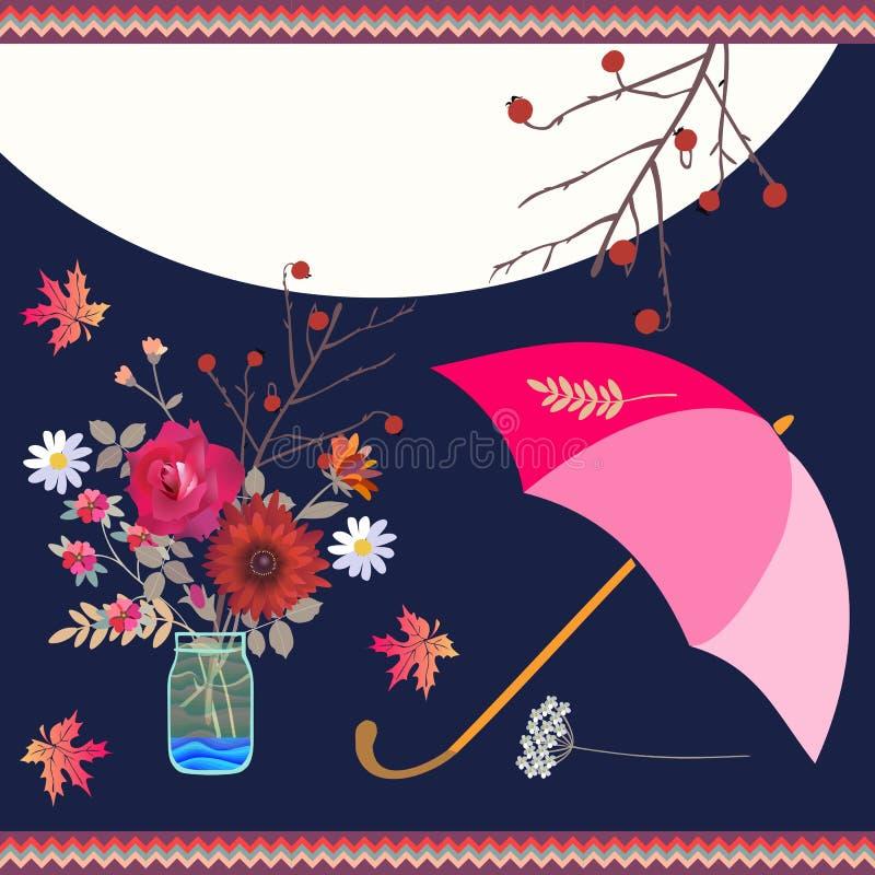 Όμορφη κάρτα με την ανθοδέσμη φθινοπώρου στο βάζο γυαλιού, το φεγγάρι, τη ρόδινα ομπρέλα και το πλαίσιο τρεκλίσματος Διάστημα για απεικόνιση αποθεμάτων