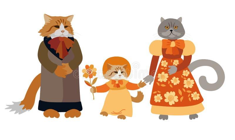Όμορφη κάρτα με τις οικογενειακές γάτες που απομονώνονται στο άσπρο υπόβαθρο Χαριτωμένοι χαρακτήρες κινουμένων σχεδίων απεικόνιση αποθεμάτων