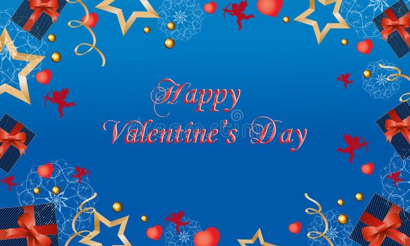 Όμορφη κάρτα με τους χαριτωμένους αγγέλους και καρδιές την ημέρα του βαλεντίνου επίσης corel σύρετε το διάνυσμα απεικόνισης ελεύθερη απεικόνιση δικαιώματος