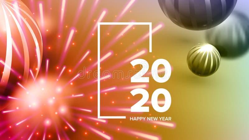 Όμορφη κάρτα πρόσκλησης που γιορτάζει το διάνυσμα του 2020 απεικόνιση αποθεμάτων