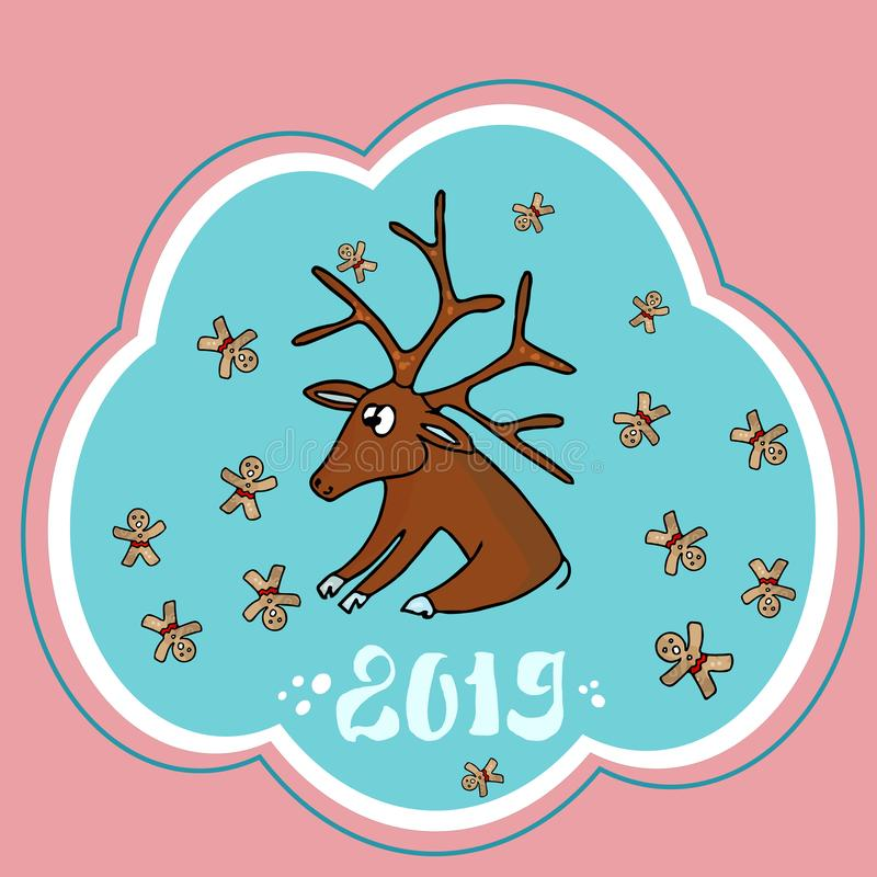 Όμορφη κάρτα Χριστουγέννων με ένα ελάφι Άγιου Βασίλη και τα μπισκότα Χριστουγέννων διάνυσμα διανυσματική απεικόνιση