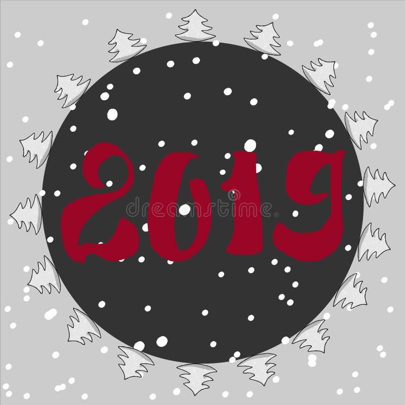 Όμορφη κάρτα Χριστουγέννων με το χριστουγεννιάτικο δέντρο, και snowflakes Κύκλος πλαισίων χριστουγεννιάτικων δέντρων διάνυσμα ελεύθερη απεικόνιση δικαιώματος