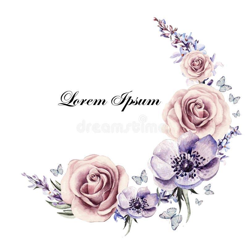 Όμορφη κάρτα watercolor με τα λουλούδια anemones, lavender και τα τριαντάφυλλα απεικόνιση αποθεμάτων