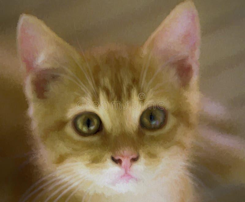 Όμορφη κίτρινη λωρίδα καρτέλας Γάτα Γατάκι Κλειστό Ψηφιακά Ζωγραφισμένο στοκ εικόνες