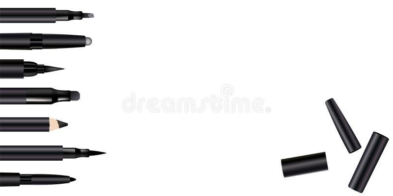 Όμορφη καθορισμένη αφίσα μανδρών Eyeliner για την προώθηση του καλλυντικού προϊόντος ασφαλίστρου Καλλυντικό έμβλημα αγγελιών για  διανυσματική απεικόνιση