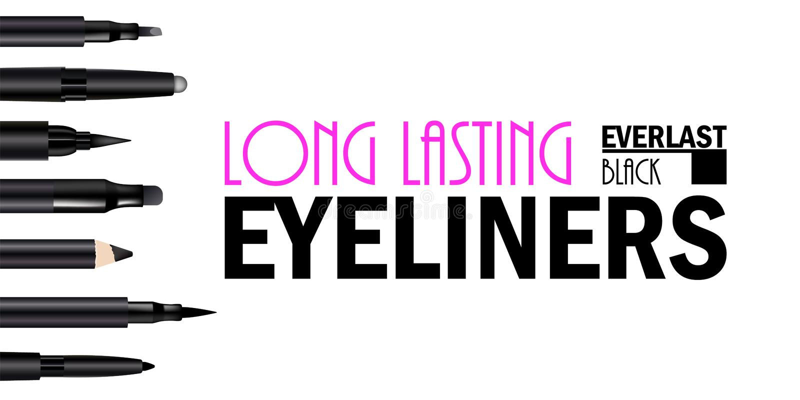 Όμορφη καθορισμένη αφίσα μανδρών Eyeliner για την προώθηση του καλλυντικού προϊόντος ασφαλίστρου Καλλυντικό έμβλημα αγγελιών για  ελεύθερη απεικόνιση δικαιώματος