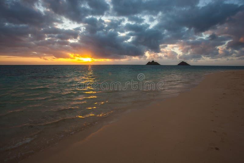 Όμορφη και συναρπαστική παραλία Oahu Χαβάη LaniKai στοκ εικόνες με δικαίωμα ελεύθερης χρήσης