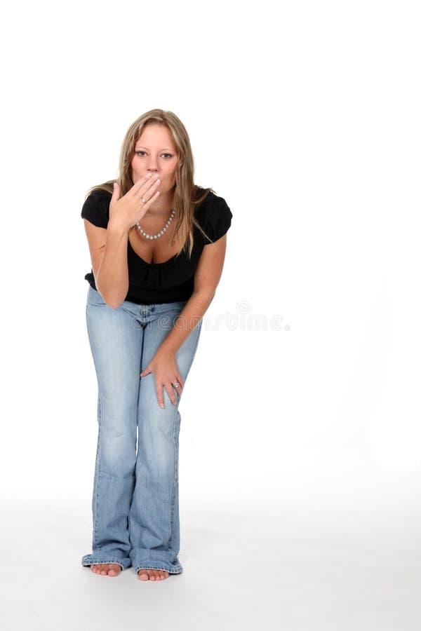 όμορφη καμμμένη γυναίκα μέσης στοκ εικόνα με δικαίωμα ελεύθερης χρήσης