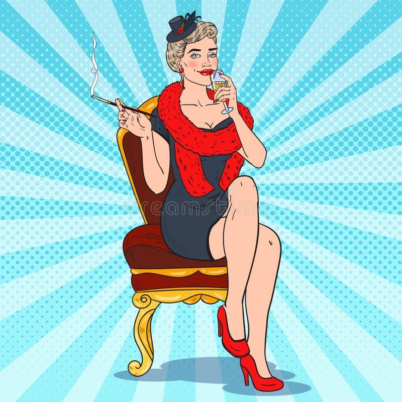 Όμορφη καπνίζοντας γυναίκα με το γυαλί CHAMPAGNE Femme fatale Λαϊκή αναδρομική απεικόνιση τέχνης ελεύθερη απεικόνιση δικαιώματος