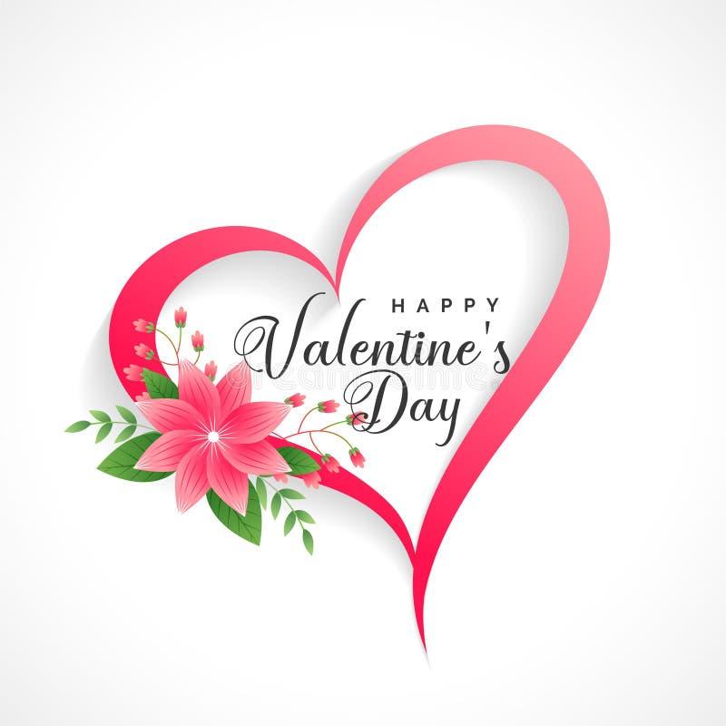 Όμορφη καρδιά ημέρας βαλεντίνων με τη διακόσμηση λουλουδιών διανυσματική απεικόνιση