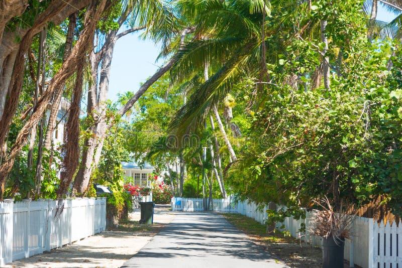 Όμορφη κατοικημένη οδός στους Florida Keys στοκ φωτογραφίες με δικαίωμα ελεύθερης χρήσης