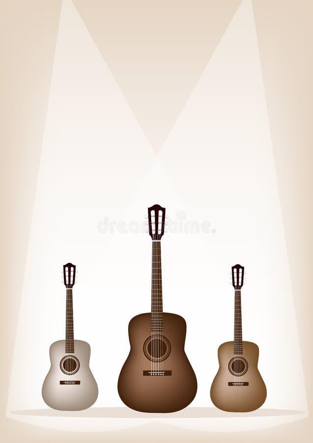 Όμορφη κιθάρα τρία στο καφετί σκηνικό υπόβαθρο ελεύθερη απεικόνιση δικαιώματος