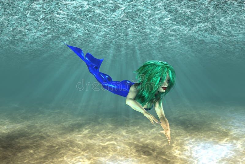 Όμορφη κολύμβηση γοργόνων ελεύθερη απεικόνιση δικαιώματος