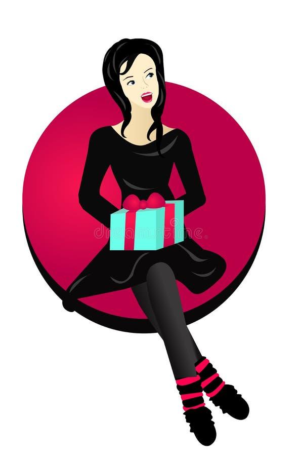 όμορφη κυρία δώρων που λαμ&be διανυσματική απεικόνιση