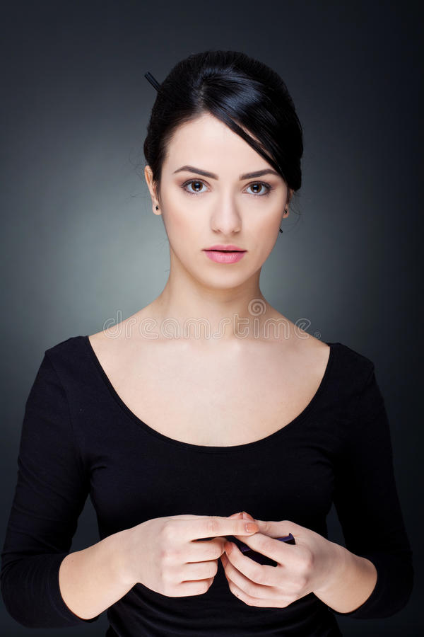 όμορφη κυρία makeup σοβαρή στοκ εικόνα με δικαίωμα ελεύθερης χρήσης