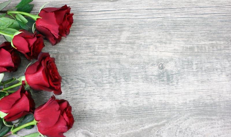 Όμορφη κόκκινη ζωή τριαντάφυλλων ακόμα πέρα από το αγροτικό ξύλινο υπόβαθρο στοκ φωτογραφία