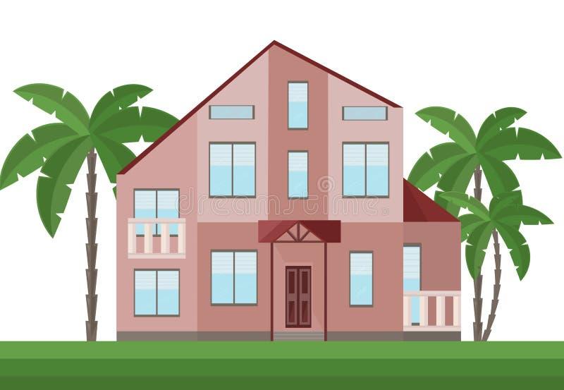 Όμορφη κόκκινη πρόσοψη αρχιτεκτονικής σπιτιών και διάνυσμα φοινίκων απεικόνιση αποθεμάτων