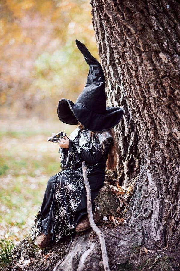 Όμορφη μάγισσα κοριτσιών μικρό κορίτσι στο οποίο το κοστούμι γιορτάζει αποκριές υπαίθριες και έχει μια διασκέδαση στοκ εικόνα με δικαίωμα ελεύθερης χρήσης