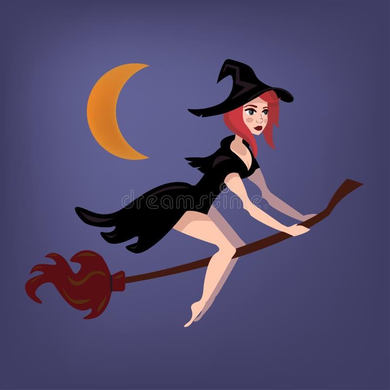 Όμορφη μάγισσα που πετά στη σκούπα στη νύχτα αποκριών απεικόνιση αποθεμάτων