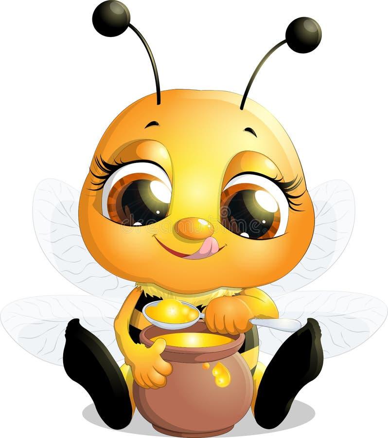 Όμορφη μέλισσα που τρώει το μέλι ελεύθερη απεικόνιση δικαιώματος