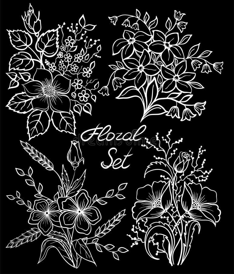 Όμορφη μονοχρωματική γραπτή floral συλλογή με τα φύλλα και τα λουλούδια καθορισμένα διανυσματική απεικόνιση