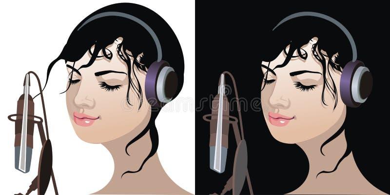 όμορφη μουσική ακούσματος κοριτσιών ελεύθερη απεικόνιση δικαιώματος