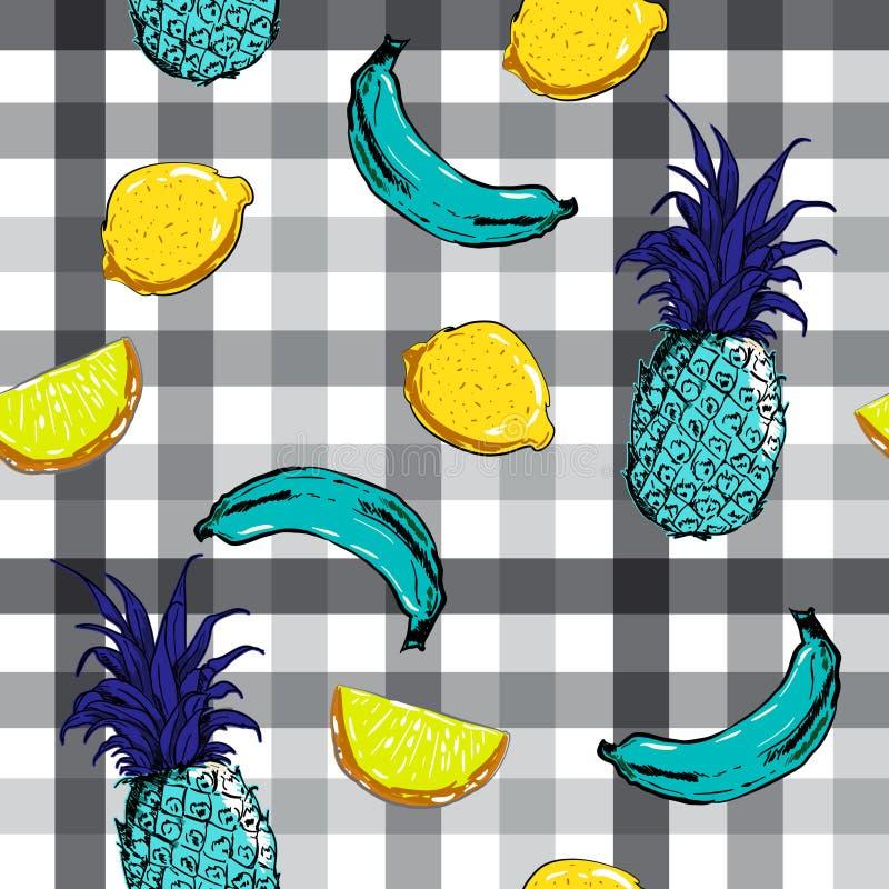 Όμορφη μπανάνα θερινών φρούτων, ανανάς, λεμόνι στο monotone CH διανυσματική απεικόνιση