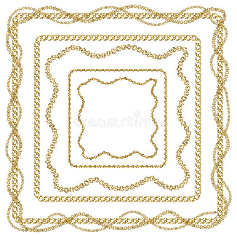 Όμορφη μπαρόκ ριγωτή απεικόνιση σχεδίων με τις χρυσές κορδέλλες και τις αλυσίδες διανυσματική απεικόνιση