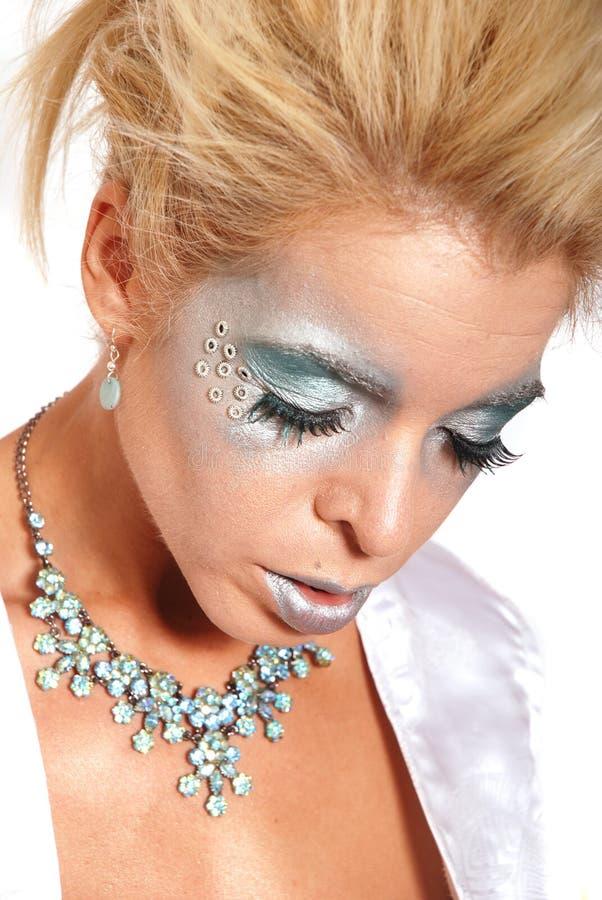 όμορφη μπλε γυναίκα makeup στοκ εικόνες