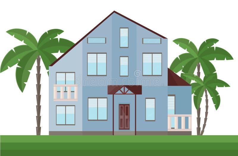 Όμορφη μπλε πρόσοψη αρχιτεκτονικής σπιτιών και διανυσματική απεικόνιση φοινίκων απεικόνιση αποθεμάτων
