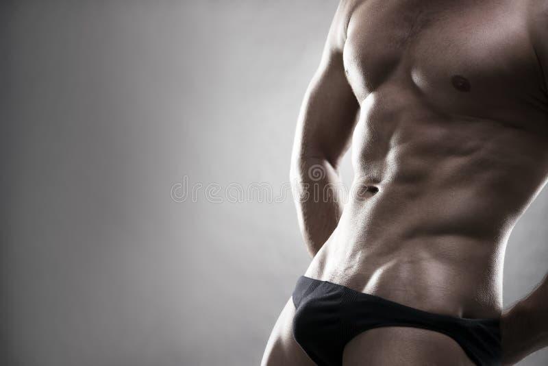 Όμορφη μυϊκή τοποθέτηση bodybuilder στο γκρίζο υπόβαθρο Στούντιο που πυροβολείται συγκρατημένο με το διάστημα αντιγράφων στοκ φωτογραφία