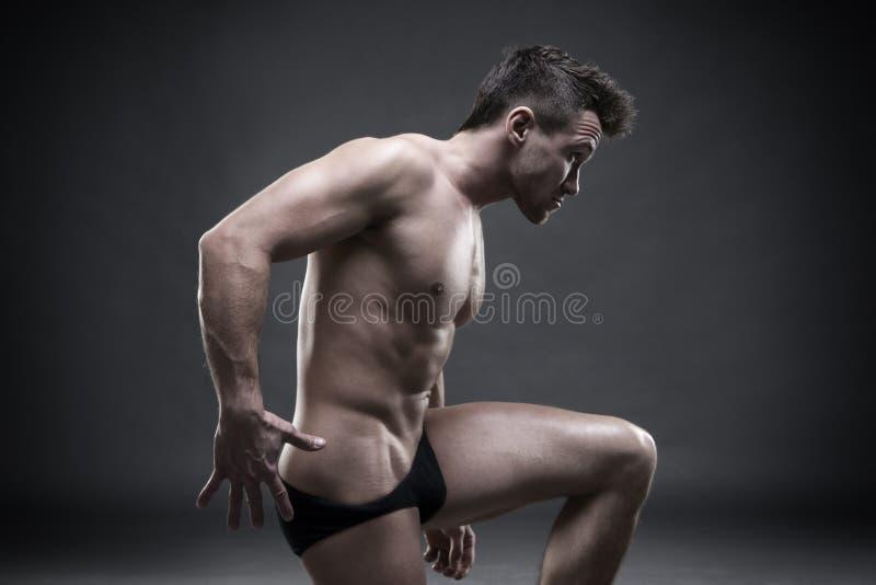 Όμορφη μυϊκή τοποθέτηση bodybuilder στο γκρίζο υπόβαθρο Συγκρατημένος πυροβολισμός στούντιο στοκ εικόνες με δικαίωμα ελεύθερης χρήσης