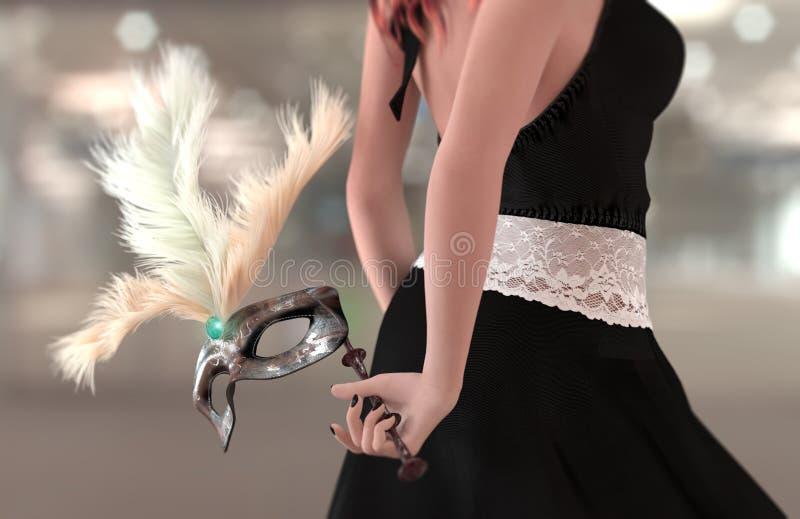 όμορφη νέα γυναίκα με την αρχαία μάσκα καρναβαλιού στοκ εικόνες