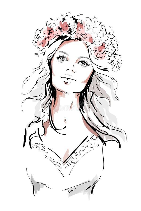 Όμορφη νέα γυναίκα με το στεφάνι λουλουδιών σε μακρυμάλλη συρμένη γυναίκα πορτρέτο&upsilon σκίτσο διανυσματική απεικόνιση