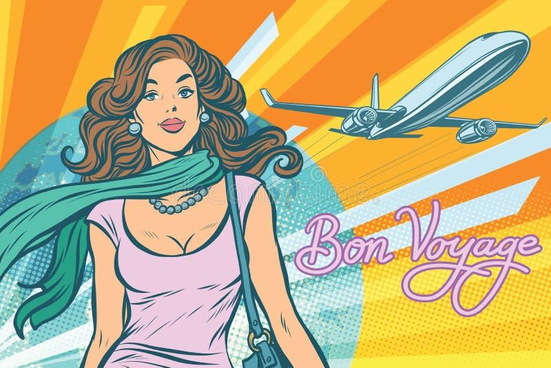 Όμορφη νέα γυναίκα στον αερολιμένα διανυσματική απεικόνιση