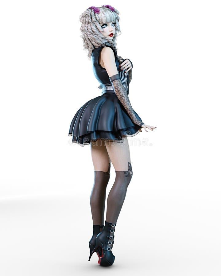 Όμορφη νέα γυναίκα goth διανυσματική απεικόνιση