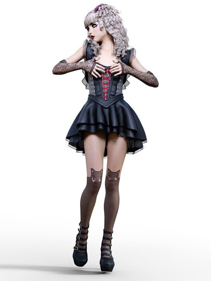 Όμορφη νέα γυναίκα goth απεικόνιση αποθεμάτων