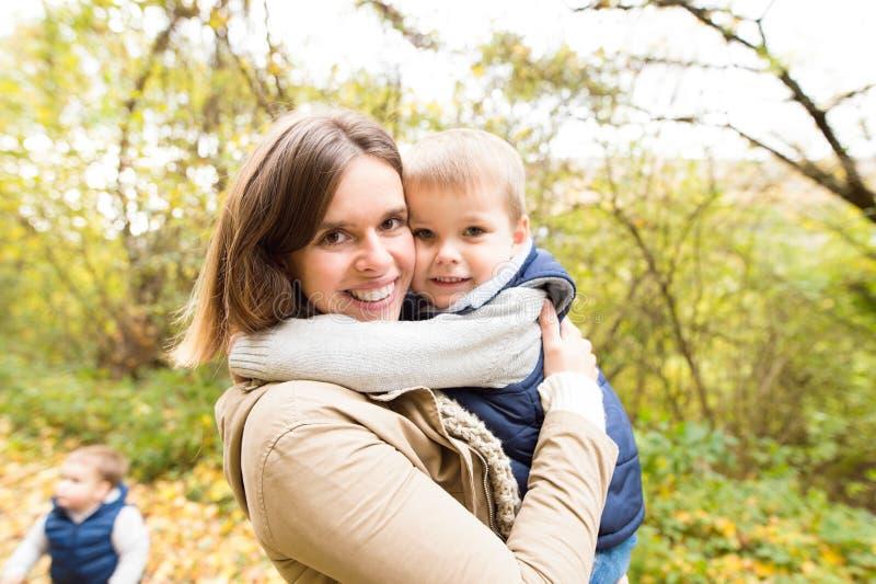 Όμορφη νέα μητέρα με τους γιους της στο δάσος φθινοπώρου στοκ φωτογραφίες