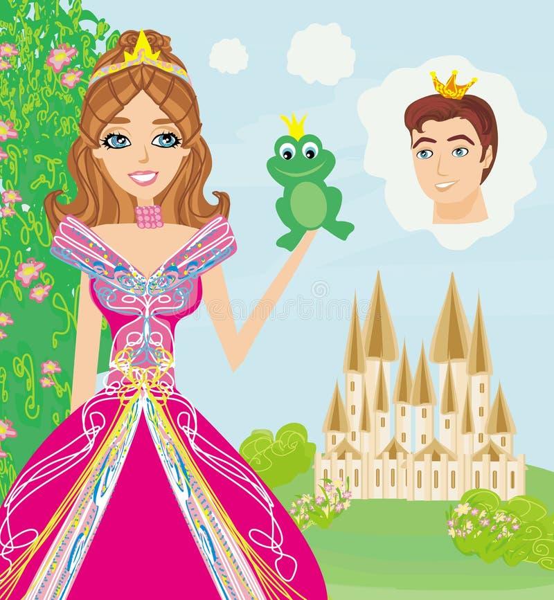 Όμορφη νέα πριγκήπισσα που κρατά έναν μεγάλο βάτραχο απεικόνιση αποθεμάτων