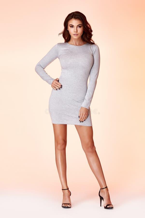 Όμορφη νέα προκλητική γυναίκα με το μακρυμάλλες τέλειο skinn brunette στοκ εικόνα με δικαίωμα ελεύθερης χρήσης
