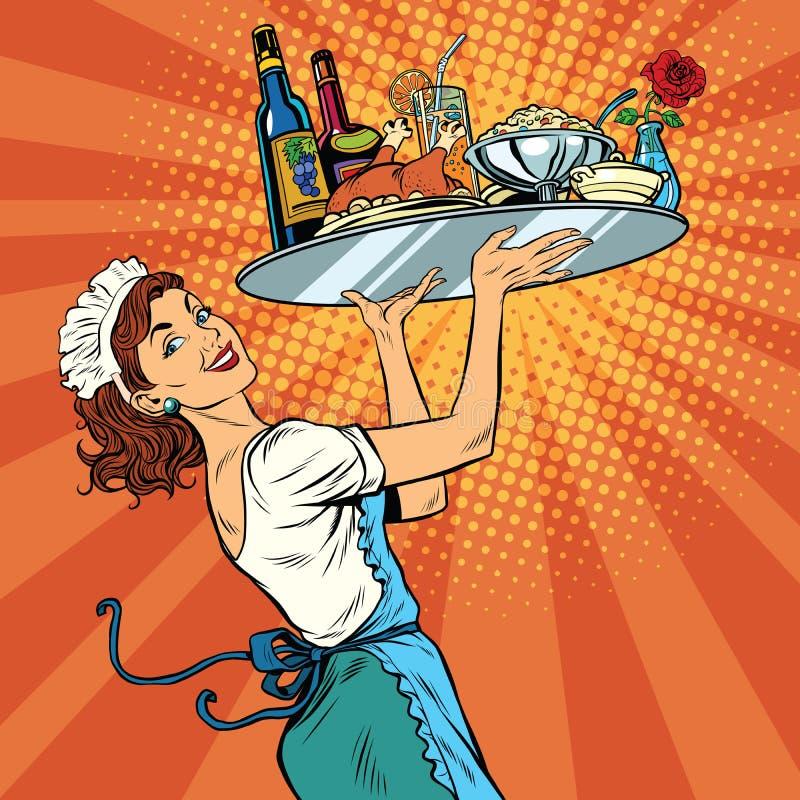 Όμορφη νέα σερβιτόρα γυναικών σε ένα εστιατόριο διανυσματική απεικόνιση