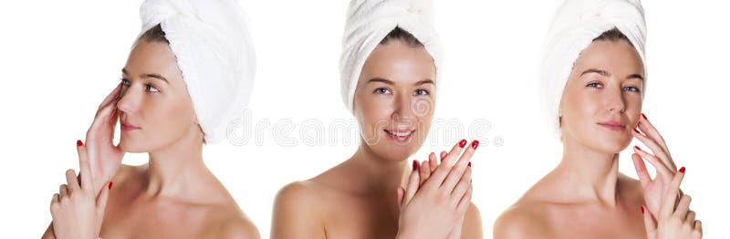 Όμορφη νέα τοποθέτηση γυναικών στην άσπρη πετσέτα στοκ φωτογραφία με δικαίωμα ελεύθερης χρήσης