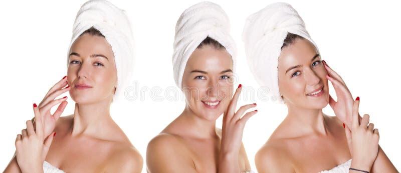 Όμορφη νέα τοποθέτηση γυναικών στην άσπρη πετσέτα στοκ φωτογραφίες με δικαίωμα ελεύθερης χρήσης