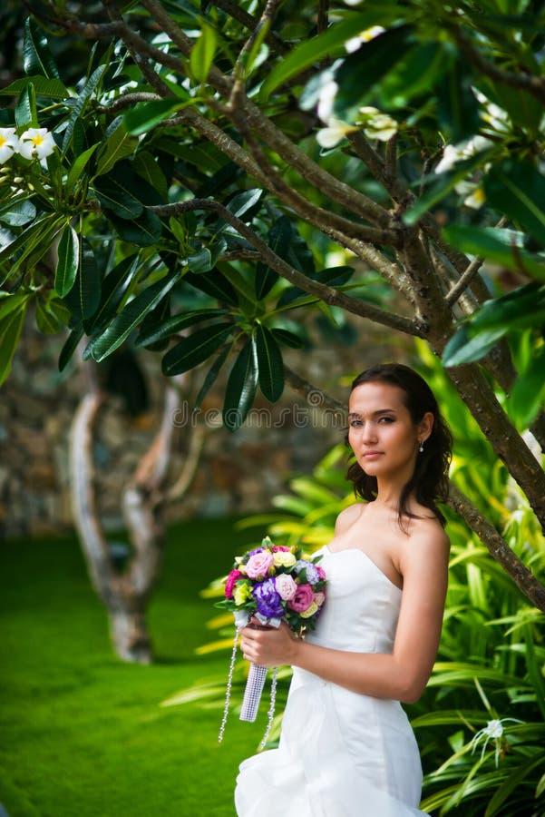 Όμορφη νέα τοποθέτηση νυφών στο γαμήλιο φόρεμα με την τροπική γαμήλια ανθοδέσμη εκμετάλλευσης δέντρων στοκ εικόνες