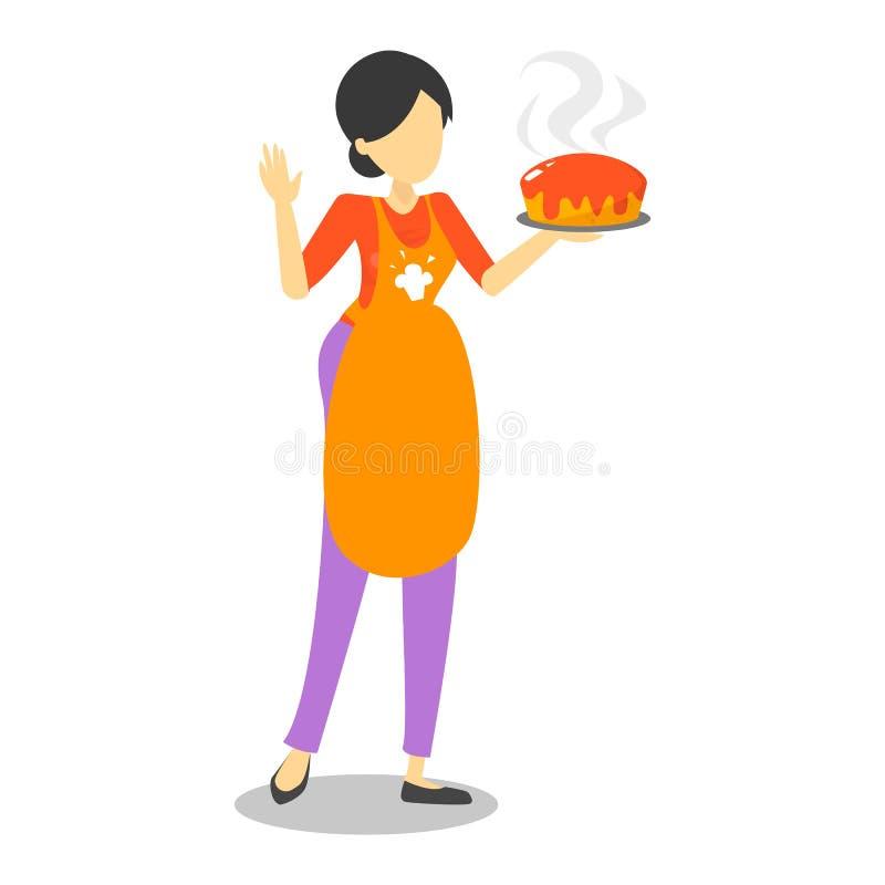 Όμορφη νοικοκυρά στην ποδιά που κρατά τη γλυκιά ψημένη πίτα απεικόνιση αποθεμάτων