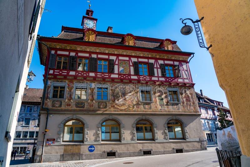 Όμορφη νωπογραφία σε ένα κτήριο στην παλαιά πόλη Stein AM Ρήνος στοκ εικόνες με δικαίωμα ελεύθερης χρήσης