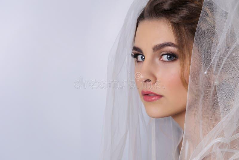 Όμορφη νύφη γυναικών με την τιάρα στο κεφάλι στοκ εικόνα με δικαίωμα ελεύθερης χρήσης