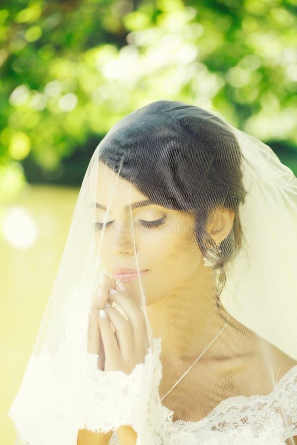 Όμορφη νύφη κάτω από το πέπλο στοκ φωτογραφίες