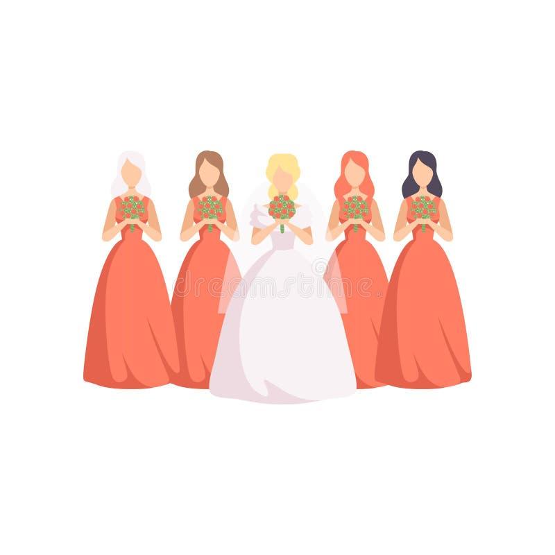 Όμορφη νύφη με τις παράνυμφους στην ίδια διανυσματική απεικόνιση φορεμάτων σε ένα άσπρο υπόβαθρο ελεύθερη απεικόνιση δικαιώματος