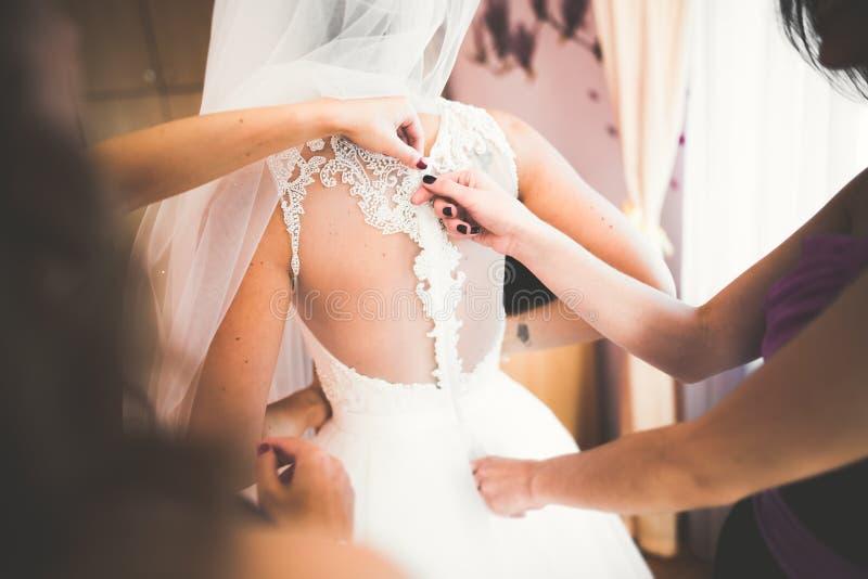 Όμορφη νύφη που φορά το γαμήλιο φόρεμα μόδας με τα φτερά με τη σύνθεση απόλαυσης πολυτέλειας και hairstyle, στούντιο εσωτερικό στοκ εικόνες